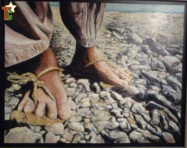 """""""Les pas"""" un tableau de Gisèle Ravey Photo: Gaëtan Noussouglo"""
