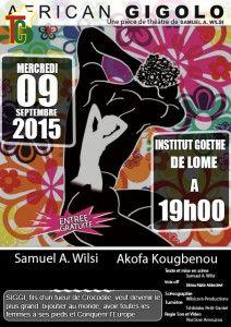 Affiche African Gigolo au Goethe Institut de Lomé.