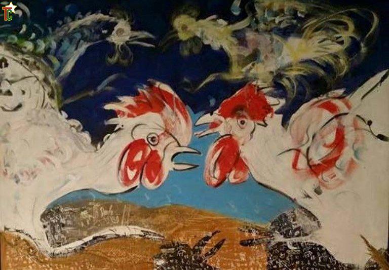 Combats, un tableau de Sokey Edorh