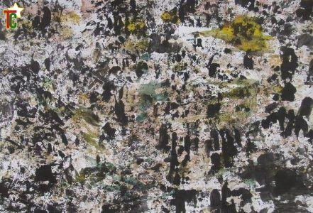 La déforestation. Technique mixte sur papier 32,5x46,5cm