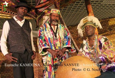 La Compagnie Ziticomania avec Eustache Kamouna - Béno Kokou Sanvee et Anani Gbétéglo. Photo: Gaëtan Noussouglo